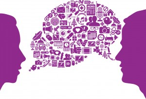 Graphic of two people and a speech bubble of ideas